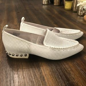 Jeffrey Campbell white loafers with silver studs